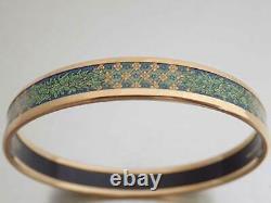 Auth HERMES Cloisonne Bangle Bracelet Green/Blue/Goldtone Enamel/Metal e49010a