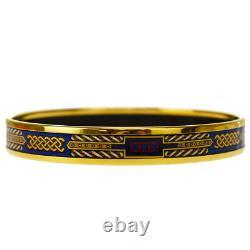 Auth HERMES Cloisonne Enamel Bangle Bracelet Gold Blue Austria Accessory 65JC712