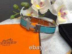 Auth Hermes CLIC Clac H Narrow Enamel Bracelet Bangle Blue Atoll With Phw Pm