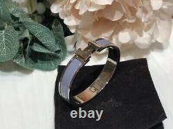 Auth Hermes CLIC Clac H Narrow Enamel Bracelet Bangle Smoke Blue With Phw Pm