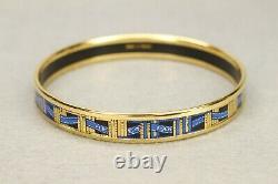 Authentic HERMES Bracelet Bangle GP enamel émail Blue/Gold