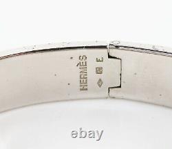 Authentic HERMES Clic Clac H Bracelet PM Silvertone and Blue Enamel #33905