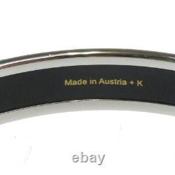 Authentic HERMES Cloisonne Enamel Bangle Bracelet Silver Blue Accessory 36BQ109