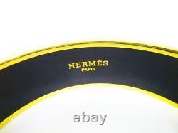 Authentic HERMES Enamel Bangle Bracelet Blue Multicolor Emaiyu GM #6647