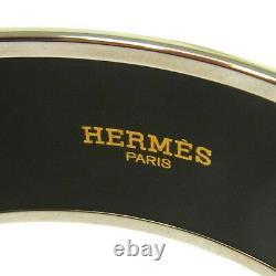 Authentic HERMES Vintage H Logos Enamel Cloisonne Ware Bangle Blue S08008j