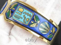 Authentic MICHAELA FREY TEAM + Blue Enamel x Goldtone Wide Bracelet Bangle