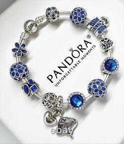 Authentic Pandora Charm Bracelet Silver Bangle BLUE LOVE with European Charms