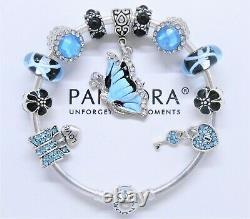 Authentic Pandora Charm Bracelet Silver & Blue Love Butterfly European Charms