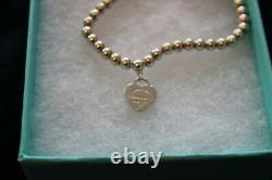 Authentic Tiffany Blue Heart Enamel Bead Bracelet Excellent Condition box+ pouch
