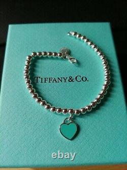 Authentic Tiffany & Co 925 Mini Bead Bracelet With Tiffany Blue Enamel