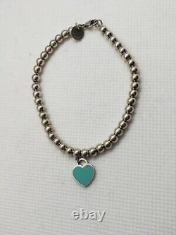 Authentic Tiffany & Co Beaded Ball Blue Enamel Charm Heart Tag 925 Bracelet 7