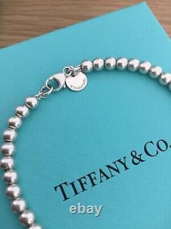 Beautiful Genuine Tiffany And Co Enamel Blue Heart Bracelet 17 Cm £225