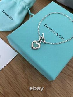 Beautiful Genuine Tiffany And Co Enamel Blue Love Heart Bracelet 17cm With Box