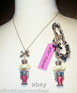 Betsey Johnson Snow Angel Nutcracker Toy Soldier Christmas Necklace Bracelet Set