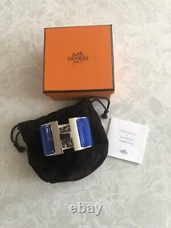Bn Hermes H Electric Blue Enamel & Plated Palladium XL CLIC Clac Bracelet Pm