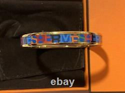 Bnib Hermes Fin Capitales Blue Background Gold Trim Bangle Bracelet Sz Small