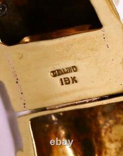 Cellino Italy 18kt Gold 106.5 Grams Blue Enamel & Turquoise Bracelet Exceptional