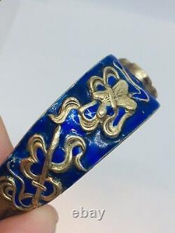 Chinese Antique Sterling Silver Gold Vermeil Blue Enamel Jade Buddha Bracelet