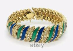 Ciner Vintage Yellow Gold Plated Clear Rhinestone Blue & Green Enamel Bracelet