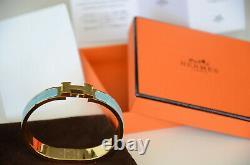 Classic Hermes H Clic Clac Bracelet GHW GOLD BLUE Enamel PM Narrow Bangle