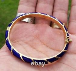 Corletto Italy 18k Gold Blue Enamel Bracelet 23 Grams