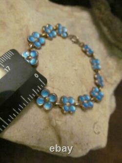D-A NORVAY Sterling Silver 925 Blue Guilloche Enamel Flower Link bracelet 11.5g