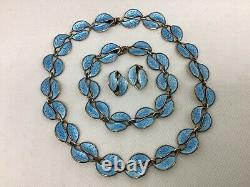 DAVID ANDERSEN Norway STERLING Blue Enamel Leaf NECKLACE BRACELET EARRINGS Set