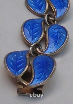 DAVID ANDERSEN Norway Sterling Silver Blue Guilloche Enamel Link Bracelet Leaf