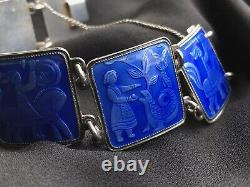 David Andersen 47g Sterling Silver Blue Enamel Fairytale Bracelet Bangle Norway