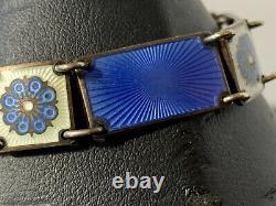 David Andersen Norway Vintage Sterling Silver Blue Enamel Guilloche Bracelet