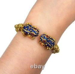 David Webb Frog 18K Yellow Gold Ruby Blue Enamel Bangle Bracelet Retail $19,500