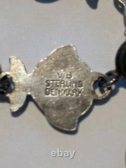 Denmark Volmer Bahner VB Sterling Blue Enamel Fish Bracelet