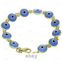 Double Sided Enamel Evil Eye 14k Yellow Gold Bracelet