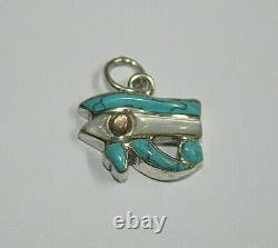 EGYPTIAN HORUS EYE Turquoise Agate Silver Enamel Bracelet Amulet