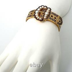 EXQUISITE Victorian Buckle Bracelet 15K Gold, Blue Enamel & Pearls