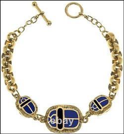 Egyptian Jewelry 3 Scarab Bracelet Blue Enamel 24K Gold-Plated Pewter & Brass
