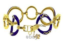Elegant Ladies Estate 18K 750 Yellow Gold Blue Enamel Circle Sapphire Bracelet