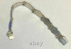 Estate Blue Enamel Sterling 925 Silver Bracelet Vintage Norway O F Hjortdahl