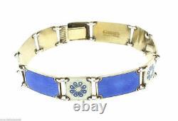Estate Norway Sterling Silver Blue and White Enamel Bracelet 7.25