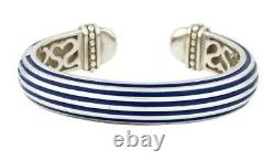 Estate Rare Slane Ribbed Column Sterling Silver Blue Enamel Bangle Cuff Bracelet