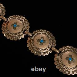 Estate Sterling Silver Copper Concho Design & Blue Enamel Detail Bracelet 8 3/8