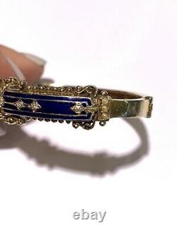 Estate Vintage 14k Yellow Gold Blue Enamel Diamond & Pearl Bangle Bracelet