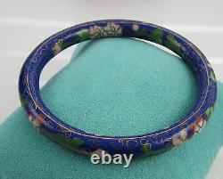 Estate Vintage Asian Colorful Cloisonne Blue Enamel Flowers Bangle Bracelet