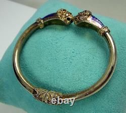 Estate Vintage Ornate 800 Silver Vermeil Deep Blue Enamel Lion Scales Bracelet