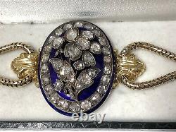 Fabulous 18k Yg Rose Diamond Blue Enamel Bracelet. Victorian C. 1840