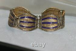 Fine Art Deco Antique 10k over 925 Silver Blue Enamel Filigree Panel Bracelet 7
