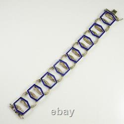 Fine Modernist Enamel Sterling Silver Bracelet Unisex 1970s Mid Century Retro
