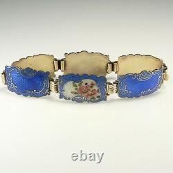 Flower Rose Scandinavian Blue Guilloche Enamel 925 Sterling Silver Bracelet