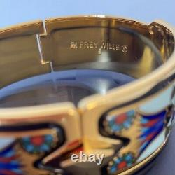 Frey Wille Royal Clasp Bangle 24kt Yellow Gold Plated Blue Enamel RRP £1170