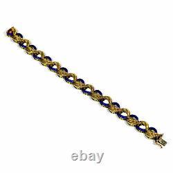 Gold Armband mit blauem Emaille 585 Gold Italien um 1950 Blue Enamel Bracelet